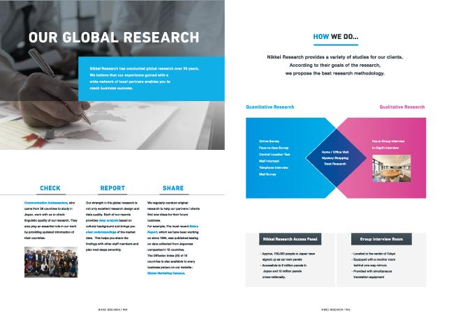専門サービス・マーケティングリサーチ関連・ビジネスコンサルティングサービスパンフレットデザイン3P実績